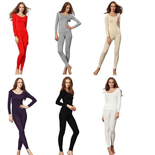 Liang Rou Women's Crewneck Stretch Top & Bottom Thin Underwear Set ...