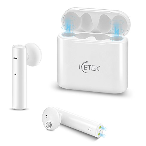 True Wireless Earbuds 2.0 ICEtek Second Generation Bluetooth in-Ear Headphones & Charging Case for iPhone iPad Android Phones Devices White Sweat Proof(Second Generation)