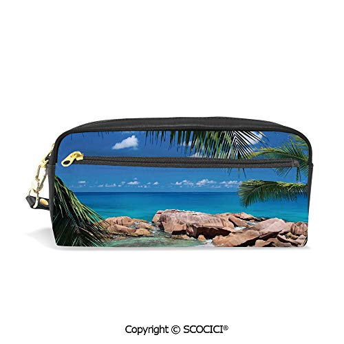 PU Leather Student Pencil Bag Multi Function Pen Pouch Idyllic Coast Island Palm Leaves Paradise Clouds Relax Calm Photo Office Organizer Case Cosmetic Makeup Bag
