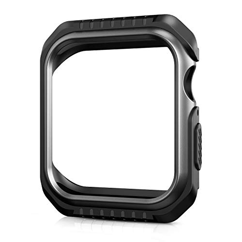 YEHY Compatible Apple Watch Case 44mm, Shock-Proof and Shatter-Resistant Protector Bumper iWatch Case with Metallic Lusterfor iWatch Series 4 (Black/Space Grey, 44mm)