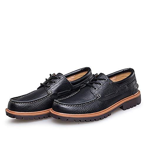 Respirable Cuero de Zapatos Qiusa tamaño 45 Cordones para Color Negro de Moda Hombres de Derby EU Genuino Y84qwUw