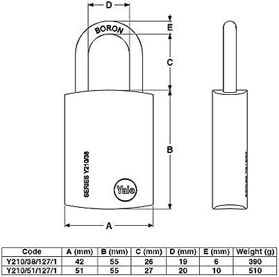 Yale Y210//51//127//1 Candado de Seguridad 50 mm