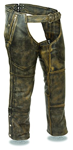 Milwaukee Men's Distressed 4 Pocket Thermal Liner Chaps (Brown, Large)