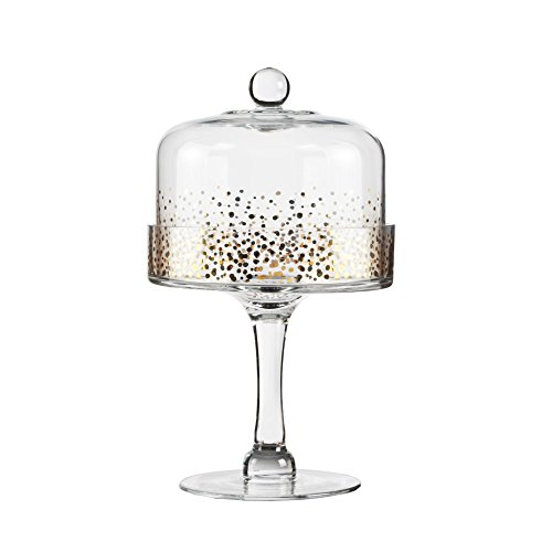 Fitz And Floyd Cake Stand - Fitz and Floyd 212700-11PD Gold Luster Glass Pedestal Plate with Dome