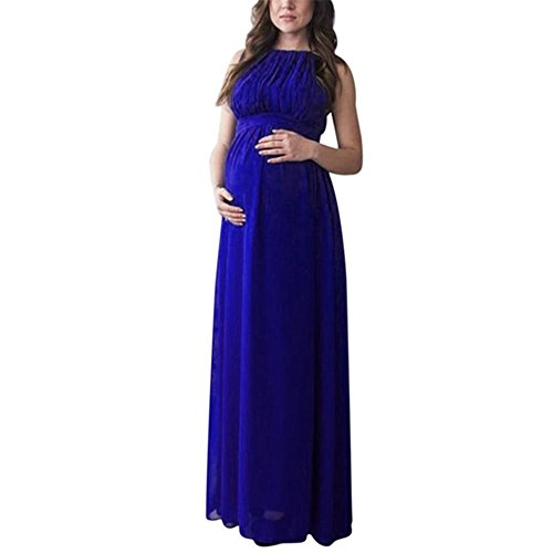 KMG Maternity Gown, Sleeveless Photography Props High Waist Long Maxi Pregnant Baby Shower Dress (S, Blue)