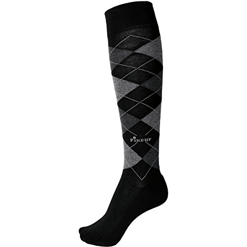 Pikeur Ladies Equestrian Horse Riding Knee Length Comfortable Check Socks Black/Grey/Anthracite kWNPK