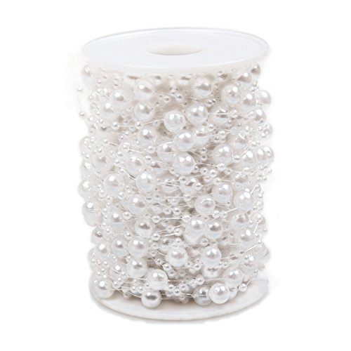 8 Mm Beaded Garland (Pearl Beads Chain 98 Feet, ABUFF Pearl Beads String Artificial Pearl Beaded Trim for Garland Flowers Wedding Party Decoration Bridal Bouquet, 30M, 3-8mm, White)