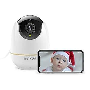 Netvue Cámara IP Full HD 1080p WiFi cámara de Seguridad con Alarma de detección de Movimiento, Zoom 8 x, visión Nocturna y Audio Digital bidireccional, P2P Blanco (Adaptador Europeo)