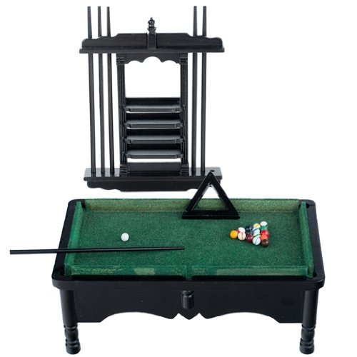 Dollhouse Miniature Black Pool Table Set