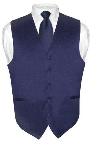 ecktie Solid Navy Blue Color Neck Tie Set sz L ()