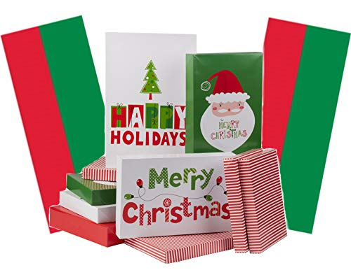 Christmas Holiday Gift Wrapping Boxes with Lids and Tissue Paper Bundle - Merry Christmas - 10 Boxes Assorted Sizes, 30 Sheets Red and Green Tissue (Paper Direct Christmas)