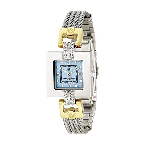 2-tone Mop Dial Stnlss Stl Wire Bangle Watch by Charles Hubert Paris Watches, Best Quality Free Gift Box ()