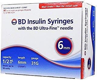 BD Ultra-Fine Insulin Syringes 31G 1/2cc 6mm 90/bx by BD Ultra-Fine Insulin Syringes 31G 1/2cc 6mm 90/bx
