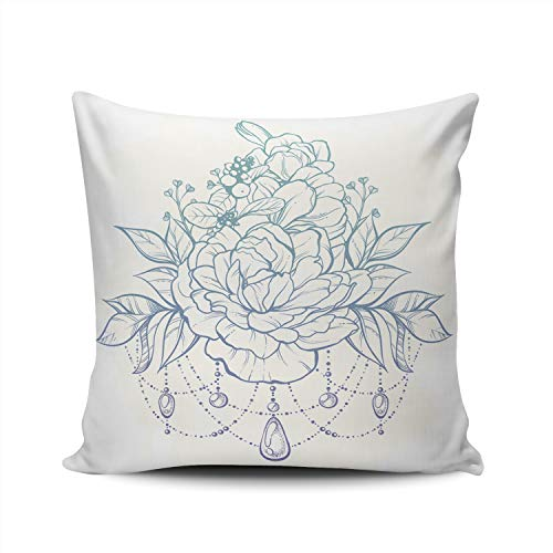 (WULIHUA Pillow Covers Vintage Boho Style Ornate Flowers Leaves Sticks Buds Beads Sofa Durable Modern Pillow Case Decorative Custom Throw Pillow Cases Double Sides Printed Square 24x24 Inches)