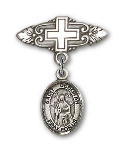 Icecarats Créatrice De Bijoux En Argent Sterling St. Deborah Broche De Badge Charme Avec Une Croix X 3/4