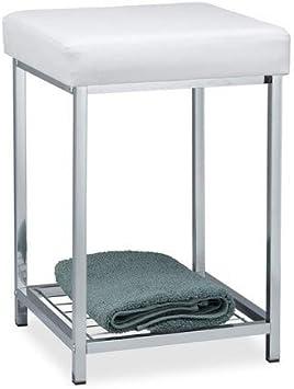 Relaxdays Taburete Bajo Cuadrado Acolchado con Repisa, Hierro y Cuero Sintético, Blanco, 47 x 33 x 33 cm