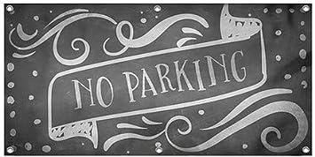 8x4 Chalk Banner Wind-Resistant Outdoor Mesh Vinyl Banner No Parking CGSignLab