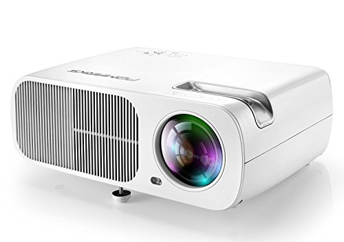 Video Projector, Pomarks Q2 Mini Projector for Home Theater, TV Box, DVD Player, Laptop, Tablet & Smarthone, Support 1080P VGA/HDMI/USB/AV Input , Max 200-Inch Display - White