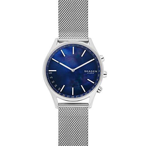 (Skagen Connected Men Holst Stainless Steel Hybrid Smartwatch, Color: Silver, Blue (Model: SKT1313))