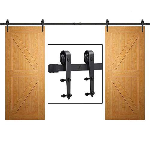 (Yaheetech 12Ft Sliding Barn Door Closet Hardware Set Black Wood Antique Style Double Track Kit System)