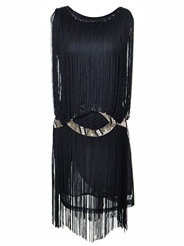 Anna-Kaci Womens Black Fringe Tassel Trim Drop Flapper Waist Cocktail Mini Dress,Large,Black