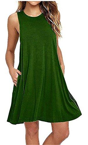 Vestidos Mujer YOGLY Vestidos de Mujer, Vestido de camiseta, sin Manga Traje de Baño Para Mujer Verano Moda Vestido de Playa, Colores Lisos, Talla Grande Verde 2