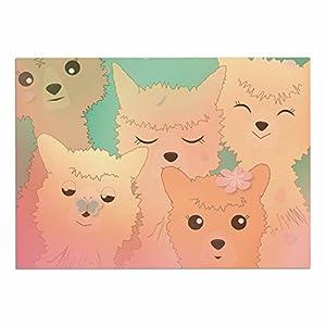 "new KESS InHouse GT1008ADM02 Graphic Tabby ""Spring Alpacas"" Pastel Animals Dog Place Mat, 24"" x 15"""