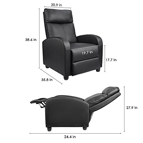 Homall Chair Padded Leather Room Recliner Home