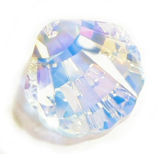 (1 pc Swarovski Crystal 6723 Seashell Charm Pendant Clear AB 28mm / Findings / Crystallized Element)