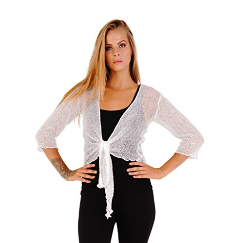 Tie Front Sheer (SHU-SHI Womens Sheer Shrug Tie Top Cardigan Lightweight Knit One Size 2-12)