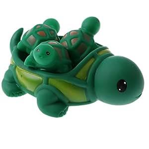 HOMYL 4pcs Green Turtle Family Baby Kids Bath Tub Bathing Rubber Squeaky Toy