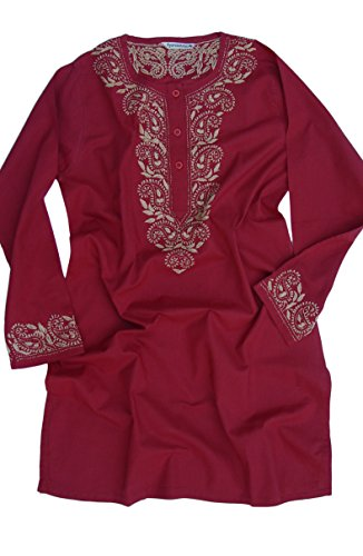 Ayurvastram Pure Cotton Round Neck, Hand Embroidered Tunic, Top, Kurti, Blouse