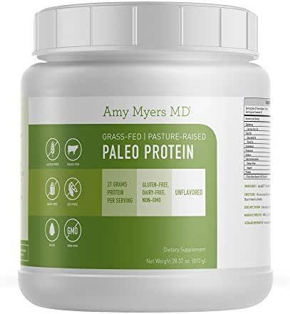 Unflavored Pure Paleo Protein by Dr. Amy Myers - Clean Grass Fed, Pasture Raised Hormone Free HydroBEEF Protein, Non-GMO, Gluten & Dairy Free - 26g Protein Per Serving - Plain Shake for Paleo and Keto