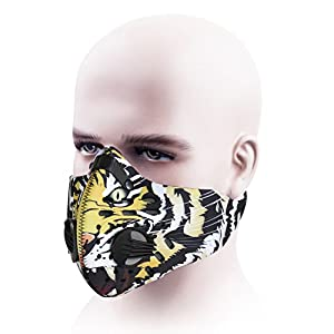 Dust Mask,SKYLE Activated Carbon Dustproof Mask Face Mask Filtration Exhaust Gas Anti Pollen Allergy PM2.5 Dust Mask Filter for Running Cycling and Other Outdoor Activities(Yellow)