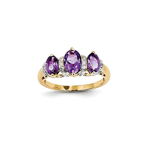 14k Yellow Gold Diamond Amethyst Oval Gemstone Ring Color H-I, Clarity SI2-I1