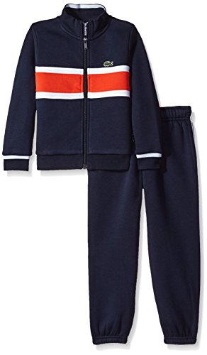 Lacoste Big Boys' Fleece Track Suit W/Chest Stripe-Shirt, Navy Blue/Etna Red/White, 12 by Lacoste