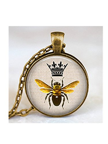 A little little love Queen bee crown necklace antique bronze, crown queen bee pendant, queen bee jewelry, insect art pendant, entomology, science pendant ()
