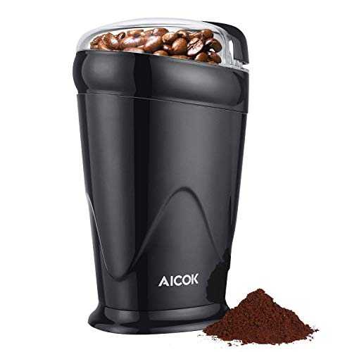 Coffee Grinder Electric Aicok, One Button Coffee Bean Grinder with Fast Speed, 12 Cup Portable Spice Grinder with Stainless Steel Blades, Black   -