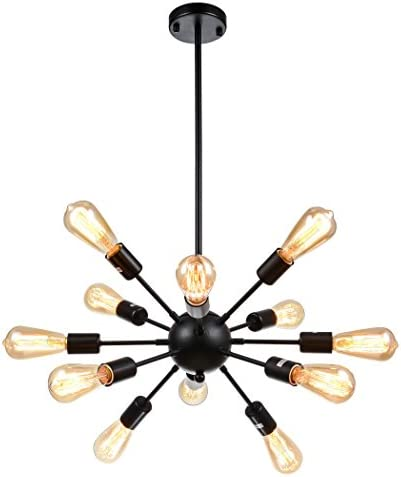 mirrea Sputnik Chandelier Vintage Edison Light Fixture Industrial Starburst Lighting with 12 Lights Black Paint Finished Metal