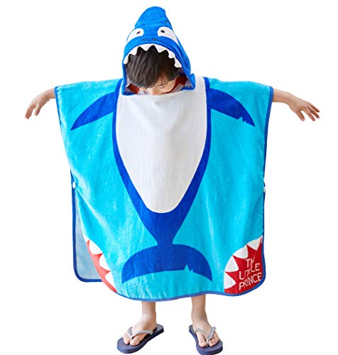 Anikea Kids Children Hooded Poncho Shark Bath/Beach/Shower Towel, Swimming Pool Coverup, 27.5