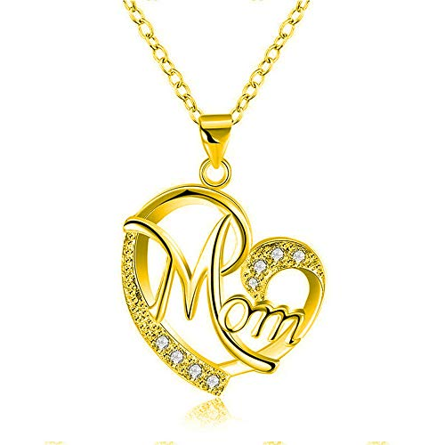 Mother's Day Gift to Mom Mum Women Heart Sharp Necklace from Daughter or Son,14 K Plated Zircon Birthstone Mom I Love You Pendant Necklace(gold)