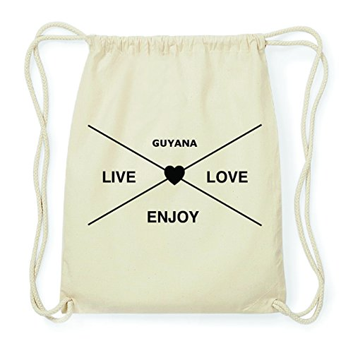 JOllify GUYANA Hipster Turnbeutel Tasche Rucksack aus Baumwolle - Farbe: natur Design: Hipster Kreuz 3D6Wcep