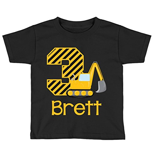 - Blu Magnolia Co Boys Construction Birthday Shirt Any Age | Personalized with Any Name (Black, 3T)