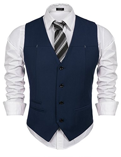 3d6bccdac69 COOFANDY Men s V-Neck Sleeveless Casual Slim Fit Dress Vest  Waistcoat