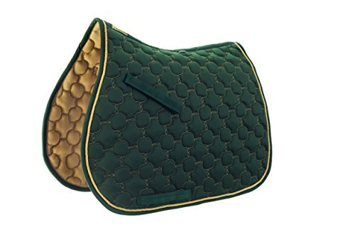 Roma Ecole Noble Saddle Pad - All Purpose - Size:Full Color:Hunter/Gold ()
