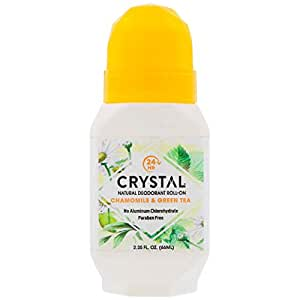 Crystal Essence Mineral Deodorant, Roll-On Chamomile and Green Tea, 2.25 Fl Oz (Pack of 1)