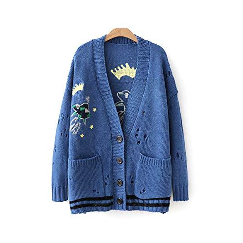 レディース カーディガン 刺繍 ゆたり セーター ロングコート 日系 原宿風 文芸 森ガール かわいい