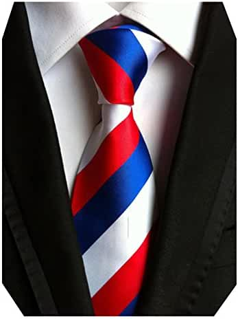MINDENG Red Blue White Striped Classic Jacquard Woven 100% Silk Men Necktie Tie