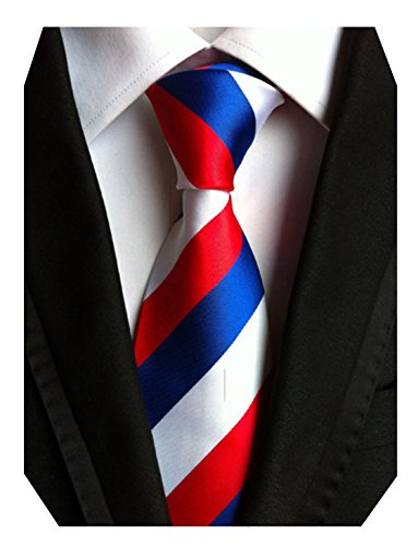 Blue Striped Designer Silk Necktie (MENDENG Red Blue White Striped Classic Jacquard Woven Men's Necktie Tie)