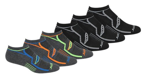 Saucony Men's Multi-Pack Performance Comfort Fit No-show Socks Gray Large